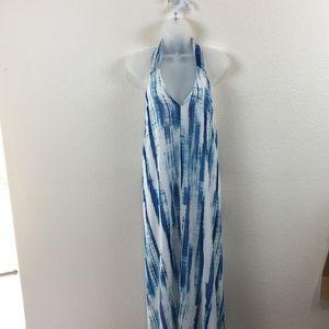 Lulu's Backless Halter Tie Flowing Maxi Dress SZ S